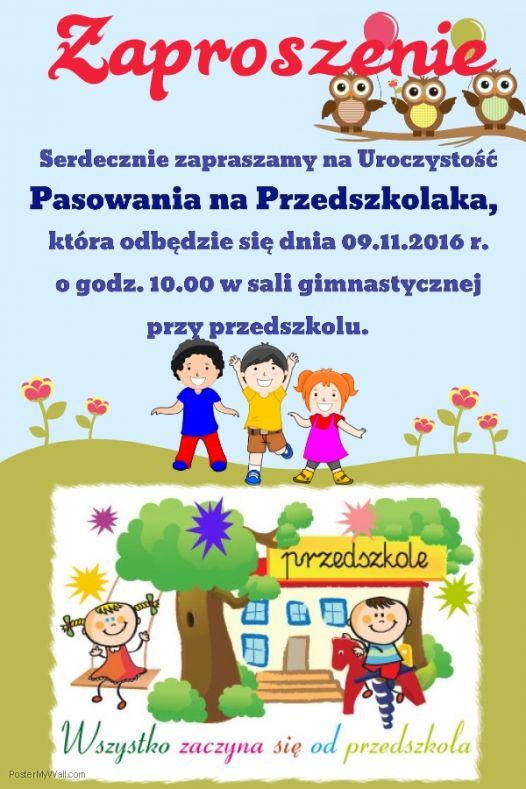 Zaproszenie Na Pasowanie Przedszkolaka