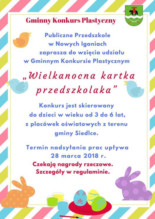 """Gminny Konkurs Plastyczny """"Wielkanocna kartka przedszkolaka"""""""