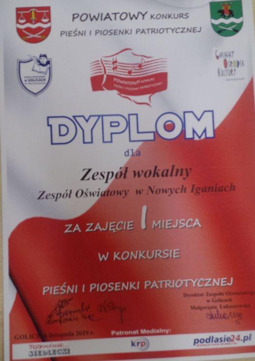 I miejsce w Powiatowym Konkursie Pieśni i Piosenki Patriotycznej w Golicach