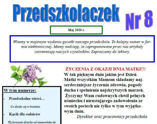 """Majowy numer gazetki """"Przedszkolaczek"""""""